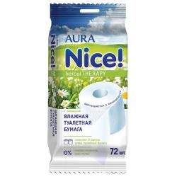 Бумага туалетная влажная Aura (72 листа)