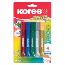 Витражные краски Kores 5 цветов с блестками