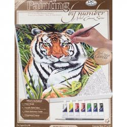 Картина Тигр по номерам 220х300х15 мм 7 цветов с кистью