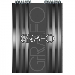 Блокнот Полином Графо А4 50 листов черный в клетку на металлическом гребне (203х290 мм)