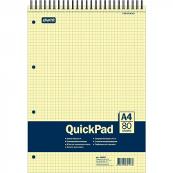 Блокнот QuickPad А4 80 листов желтый в клетку на спирали (305х205 мм)
