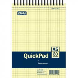 Блокнот QuickPad А5 60 листов желтый в клетку на спирали (145х307 мм)