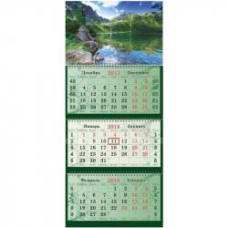 Календарь настенный трехблочный на 2018 год Горное озеро (340х805 мм)