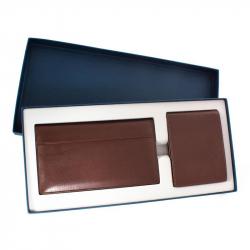 Подарочный набор Коллин (визитница + портмоне), кожа, коричневый