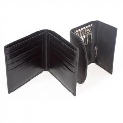 Подарочный набор Биллфорд (портмоне/ключница), кожа, черный
