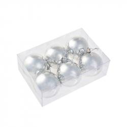 Набор елочных шаров Tukzar серебряный (7 см, 6 штук в упаковке)