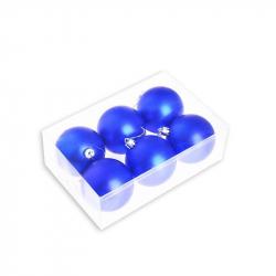Набор елочных шаров Tukzar синий (7 см, 6 штук в упаковке)