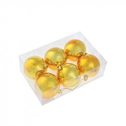 Набор елочных шаров Tukzar золотой (7 см, 6 штук в упаковке)