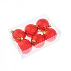 Набор елочных шаров Tukzar красный (7 см, 6 штук в упаковке)