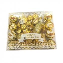 Набор новогодних пластиковых шаров золотистые (35 штук в упаковке)