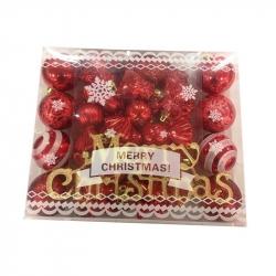 Набор новогодних пластиковых шаров красные (35 штук в упаковке)