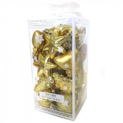 Набор новогодних пластиковых шаров золотистые (27 штук в упаковке)