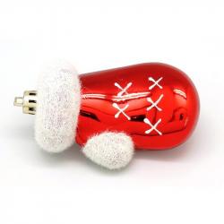 Игрушка елочная пластиковая Варежки красные с белым (4 штуки в наборе)