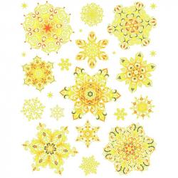 Наклейка новогодняя из ПВХ на статике Золотые снежинки (30x38 см)